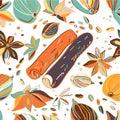 Hand drawn colorful seamless pattern with cinnamon, cardamom,