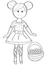 Hand drawn coloring page of a ballerina girl with a fruit basket Royalty Free Stock Photo