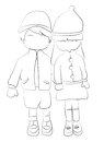 Hand drawn coloring page of a boy and girl holding hands Royalty Free Stock Photo
