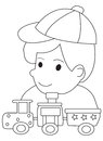 Hand drawn coloring page of a boy and his toy trains illustrations playing with in black white on isolated white background for Royalty Free Stock Image