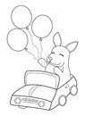 Hand drawn coloring page of a bunny riding in a car with balloons Royalty Free Stock Photo