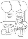 Hand drawn coloring page of a chef at her restaurant illustration happy girl in uniform in black and white on isolated white Royalty Free Stock Photos