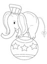 Hand drawn coloring page of a circus elephant cartoon an standing on big ball wearing hat and ribbon on it s tail Stock Photography