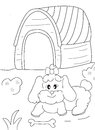 Hand drawn coloring page of a female dog, a bone and a doghouse Royalty Free Stock Photo