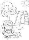 Hand drawn coloring page of a girl playing ball Royalty Free Stock Photo