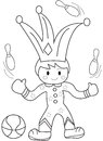 Hand drawn coloring page of a juggler Royalty Free Stock Photo