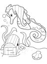 Hand drawn coloring page of a seahorse and a treasure chest cartoon sea horse finding under the sea Royalty Free Stock Image