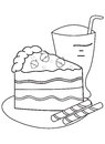 Hand drawn coloring page of a slice of cake and drink illustrations with strawberries wafers on the side in black white on Royalty Free Stock Photography