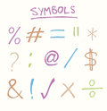 Hand drawn common symbols such as equals tick cross and hashtag Royalty Free Stock Images