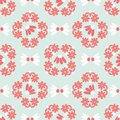 Hand drawn coral mint green spring daisy flower wreath
