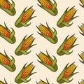 Hand drawn corn cob seamless pattern