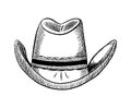 Hand drawn cowboy hat vector illustration, country western style Royalty Free Stock Photo