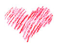 Hand drawn crayon heart shape isolated on white background Stock Photos