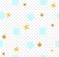 Hand drawn creative background. Simple minimalistic seamless pattern with golden stars and blue circles.