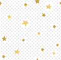 Hand drawn creative background. Simple minimalistic seamless pattern with golden stars and dots. Universal design.