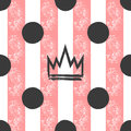 Hand-drawn crown and polka dots on a striped background. Grunge, graffiti, sketch, ink, paint. Seamless pattern for girls.