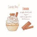 Hand drawn cupcake with doodle buttercream for pastry shop menu. Cinnamon flavor