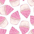 Hand drawn cupcake seamless pattern