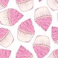 Hand drawn cupcake seamless pattern