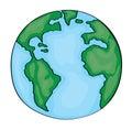 Hand drawn cute cartoon earth america Royalty Free Stock Photo