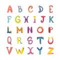 Hand-drawn cute funky alphabet. Children font on white.