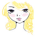 Hand-drawn cute girl face with messy blond hair, marker sketch