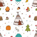 Hand drawn Cute seamless pattern with tee pee wigwam, North American Indian teepee.