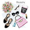 Hand drawn cute set with cosmetic, accessories and coffee cup. Bag, lipstick, false eyelashes, sunglasses and flowers, shoes.