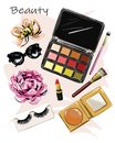 Hand drawn cute set with cosmetics. Eye shadow palettes, lipstick, brushes, false false lashes, sunglasses and flowers