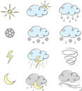 Hand drawn cute weather icons collection Stock Photography