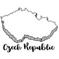 Hand drawn of Czech Republic map, illustration