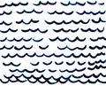 Hand drawn dark blue waves on white background.