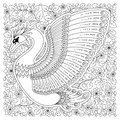 Hand drawn decorated swan. Image for adult coloring books, page