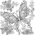 Hand drawn Decorative butterfly with florals for the anti stress coloring page. Royalty Free Stock Photo