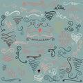 Hand drawn decorative curls and swirls collection. Vintage design elements. Calligraphic elements Swirl set. Romantic desig Royalty Free Stock Photo