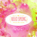 Hand drawn decorative ellipse frame with text hello spring fresh pink and green background with paint texture and leaves traces Stock Image