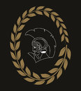 Hand drawn decorative Logo with head of the ancient Greek warrior, negative.
