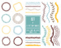Hand drawn decorative vector brushes with inner and outer corner Royalty Free Stock Photo