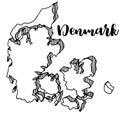 Hand drawn of Denmark map, illustration