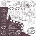 Hand drawn dental care set of different related vector doodle icons Royalty Free Stock Photo