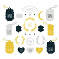 Hand drawn design elements collection Label tag wreath sign symbol Royalty Free Stock Photo