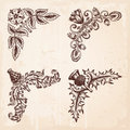 Hand Drawn Design Elements Corners Vintage Royalty Free Stock Photo