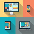 Hand drawn desktop computer, laptop, tablet and smart phone on color background. Royalty Free Stock Photo