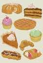 Hand drawn dessert collection Royalty Free Stock Image