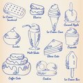 Hand Drawn Desserts Icon Set Royalty Free Stock Photo