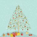Hand drawn detailed grunge illustrations christmas tree decoration no objects isolated group version illustration eps mode Stock Photography