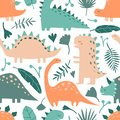 Hand drawn dinosaur animals and tropical leaves