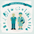 Hand drawn doctors vector illustration eps contains transparencies Stock Image