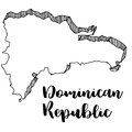 Hand drawn of Dominican Republic map, illustration