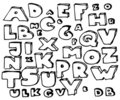 Hand drawn doodle alphabet Stock Photography